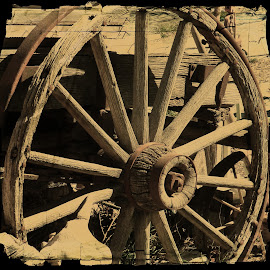 ole wagon wheel  by Connie Schow Anderson - Artistic Objects Other Objects ( farm, old, old town, rustic, antique )