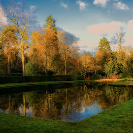 Relflections in the Park by Phil Robson - City,  Street & Park  City Parks ( park, reflections, lake, ripon, fountains abbey )
