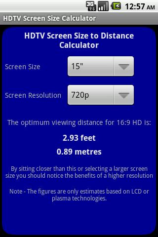 HDTV Screen Size Calculator