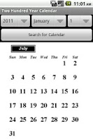 Screenshot of Two Hundred Year Calendar