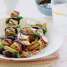 Japanese Tofu Skewers on Soba
