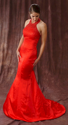 Red Prom Dresses -  Satin Ruched Sweetheart Evening Gown