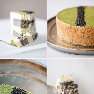 Matcha-Goma Mousse Cake (Green Tea-Black Sesame Mousse Cake)