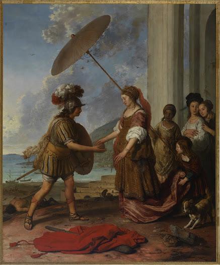 De Griekse held Theseus geeft aan Ariadne de bol met draad terug. Door Ariadne's draad te volgen kon Theseus veilig terugkeren uit het labyrint van koning Minos. Hij was het labyrint ingegaan om de Minotaurus, het monster met de stierenkop te doden. Deze ligt verslagen op de achtergrond. Achter Ariadne staan haar vier helpsters als teken van haar adellijke positie. Na zijn terugkeer vluchtte Theseus met Ariadne naar het eiland Naxos.