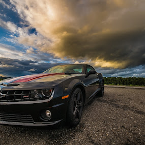 Stark, Dark and Handsome by Gary Piazza - Transportation Automobiles ( clouds, sky, portland, camaro, storms,  )