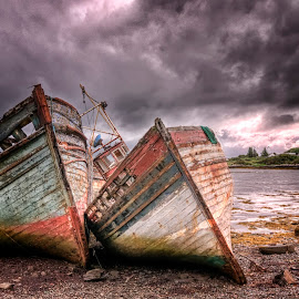 Salen Boats by Simon Armstrong - Transportation Boats ( scotland, hdr, boats, abandoned, isle of mull )