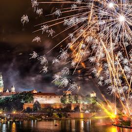 Wianki Festival 2014 by Michael Wiejowski - City,  Street & Park  Skylines ( wianki, europe, polska, krakow, fireworks, castle, wawel, poland )
