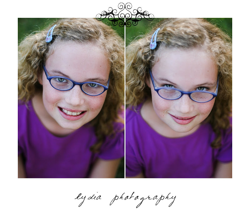 Girl with blue glasses at lifestyle kids portraits on a farm in Indiana, Pennsylvania