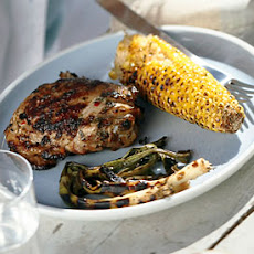 Grilled Spicy-Citrus Chicken Thighs with Corn and Green Onions