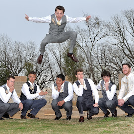 Adam by Dennis McClintock - Wedding Groom ( groomsmen, wedding, groomsmen activity, groomsnmen jumping, groom )