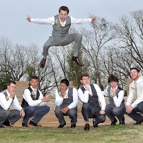 Adam by Dennis McClintock - Wedding Groom ( groomsmen, wedding, groomsmen activity, groomsnmen jumping, groom )