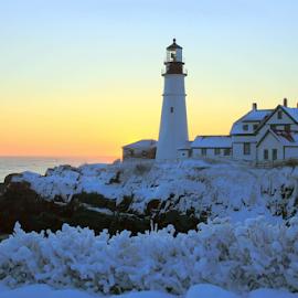 Winter Sunrise Portland Head Light by Lloyd Alexander - Landscapes Travel ( fort williams, lloyd alexander, portland, maine, cape elizabeth, lighthouse, ocean, portland head light, atlantic, head, light )