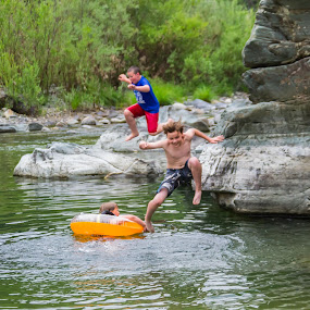 Summer Fun by Scott Morgan - Babies & Children Children Candids ( boys, rock, rocks, boy, swimming, hole, jump, river, country,  )