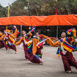 Buddhist Monks Dancing. by Eva Kamienska-Carter - People Street & Candids ( dancing, monks, buddhist, young, nepal,  )