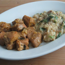 Pork with Portuguese migas (crumbs)