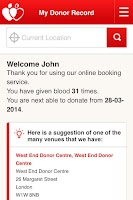 Screenshot of NHSGiveBlood