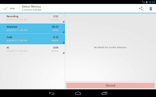 Screenshot of Audio Memos