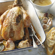 Roast Chicken With Whole Garlic, Bay & White Wine