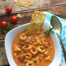 Creamy Tomato and Tortellini Soup with Parmesan Sticks