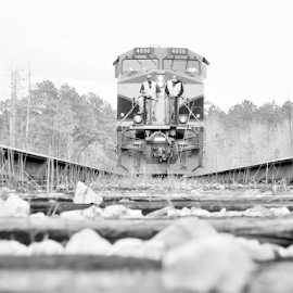Waiting... by Alan Dougherty - Transportation Trains ( train tracks, railroad tracks, point of view, black and white, transportation, nikon, trains,  )