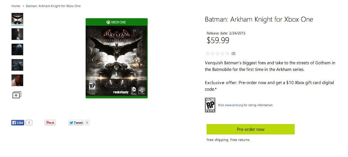 Microsoft leaks the release date for Batman: Arkham Knight