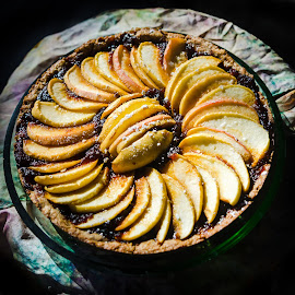 Apple pie by Uladzik Kryhin - Food & Drink Cooking & Baking ( dish, home, powder, made, mouth-watering, yummy, french, pie, baked, hand, organic, sweet, american, apple, food, eat, slice, treat, sugar, dessert,  )