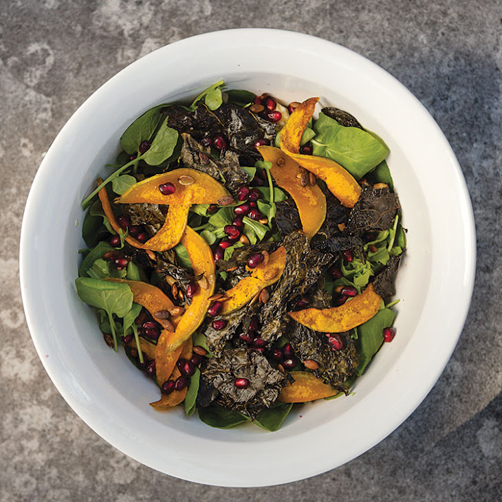 Fall Salad with Roasted Butternut Squash, Kale Chips, and Pomegranate ...