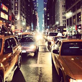 NY Street at Night by Lisa Shalom - City,  Street & Park  Street Scenes ( street, horizon, city life, nyc, new york, architecture, ny, city, lights, sky, traffic, headlights, cars, night, nightlife, Urban, City, Lifestyle )
