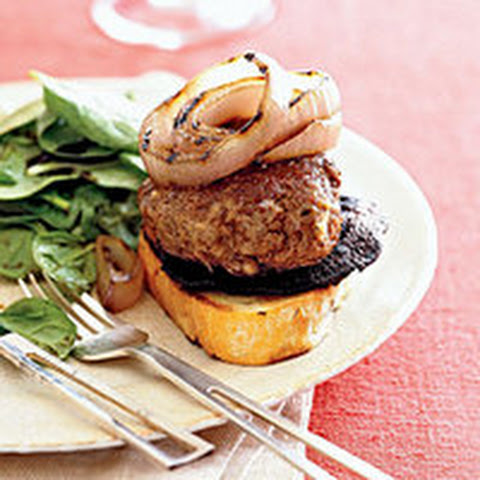 Open-Faced Grilled Greek Burgers