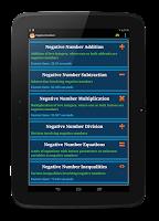 Screenshot of Math Negative Numbers Practice