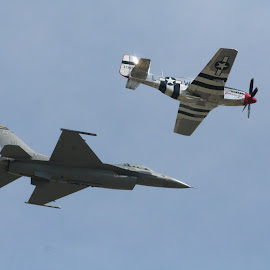 Old and New by John Cardillo - Transportation Airplanes ( flying, mustang, plane, f16, jet, airshow )