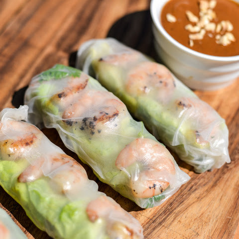 Grilled Shrimp Summer Rolls with Chile-Lime Dipping Sauce Recipe ...