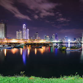 Panama City by Salvatore Belcastro - City,  Street & Park  Skylines ( panama skyline boats seaside )