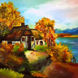 Happiness in autumn colors by Livia Copaceanu - Painting All Painting ( autumn, colors, happiness )