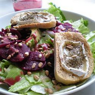 Avocado, Beetroot and Rocket Salad with Chevre Tartine