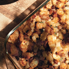 Sourdough Stuffing with Sausage, Apples, and Golden Raisins