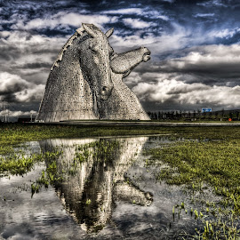 The water Kelpies by Lorraine Paterson - Landscapes Travel ( clouds, scotland, kelpies, horses, falkirk, puddle )