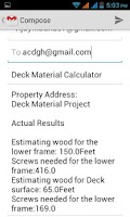 Screenshot of Deck Materials Calculator
