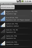 Screenshot of RIFT Shard Status
