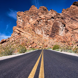 It's Not The End of the Road by Kim Hastings - Landscapes Caves & Formations ( mountains, blue sky, utah, road, valley of fire )