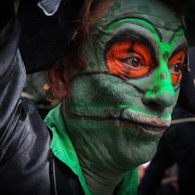 Green and Orange Man by VAM Photography - People Street & Candids ( parade, costume, places, nyc, man, , person, people, tattoo )