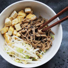 Make-Ahead Peanut Soba Noodles with Tofu and Pickled Bean Sprouts