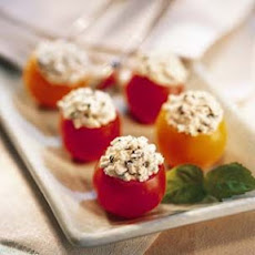Cherry Tomatoes Filled with Goat Cheese