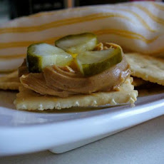 Saltine With Peanut Butter, Mustard and Pickle