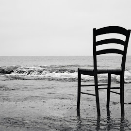 waiting for you  by Shawn Edgar - Artistic Objects Furniture ( #chair #waves #bnw #artistic #ocean,  )