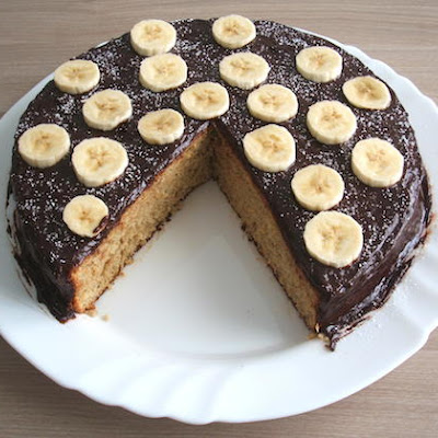 Banana Cake Topped With Chocolate