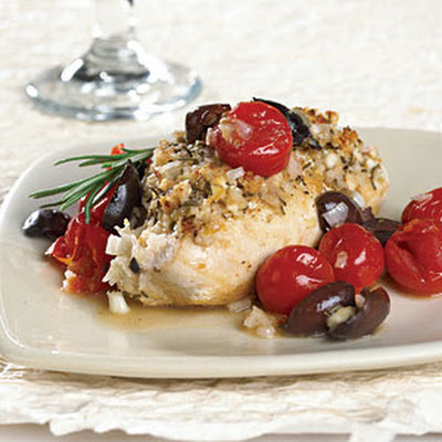 Rosemary-Feta Chicken with Cherry Tomato-Olive Sauce