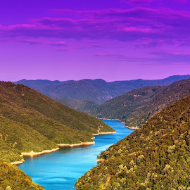 Nestos by Stratos Lales - Landscapes Mountains & Hills ( clouds, water, purple, blue, river )