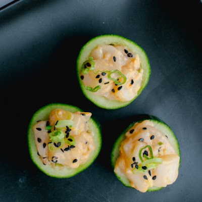 Spicy Scallop Tartare In Cucumber Cups
