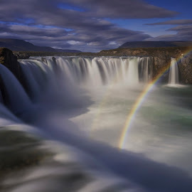 Goðafoss by Rune Askeland - Landscapes Waterscapes ( iceland, goðafoss, waterfall, long exposure, rainbow )